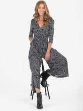 Load image into Gallery viewer, 3/4 Sleeve V Neck Jumpsuit, Black White
