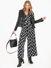 Load image into Gallery viewer, 3/4 Sleeve Wrap Front Jumpsuit, Black White