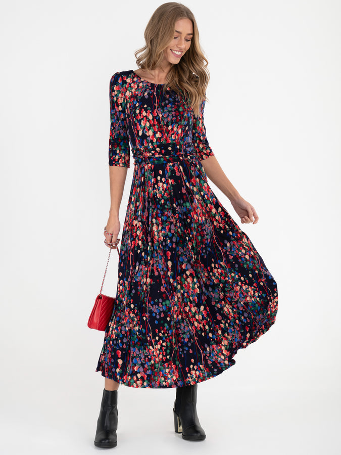Jolie Moi Abstract Spot Flared Dress, Navy/Multi