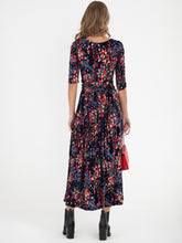 Load image into Gallery viewer, Abstract Floral Print Maxi Dress, Navy Multi
