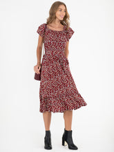 Load image into Gallery viewer, Ruffle Tiered Hem Midi Dress, RED LEAFY