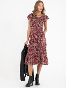 Ruffle Tiered Hem Midi Dress, RED LEAFY