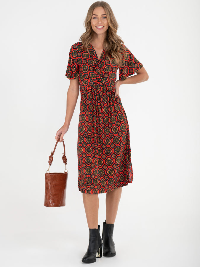 Twist Front Midi Jersey Dress, Red Pattern