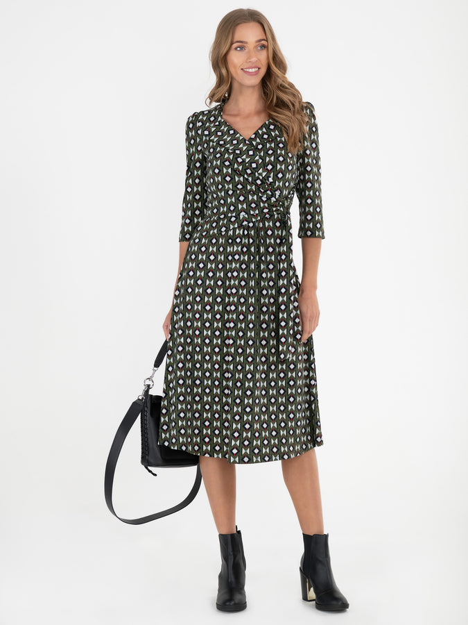 Print Wrap Shirt Jersey Dress , Soldier Green