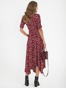 Abstract Animal Print Handkerchief Shirt Dress, Red