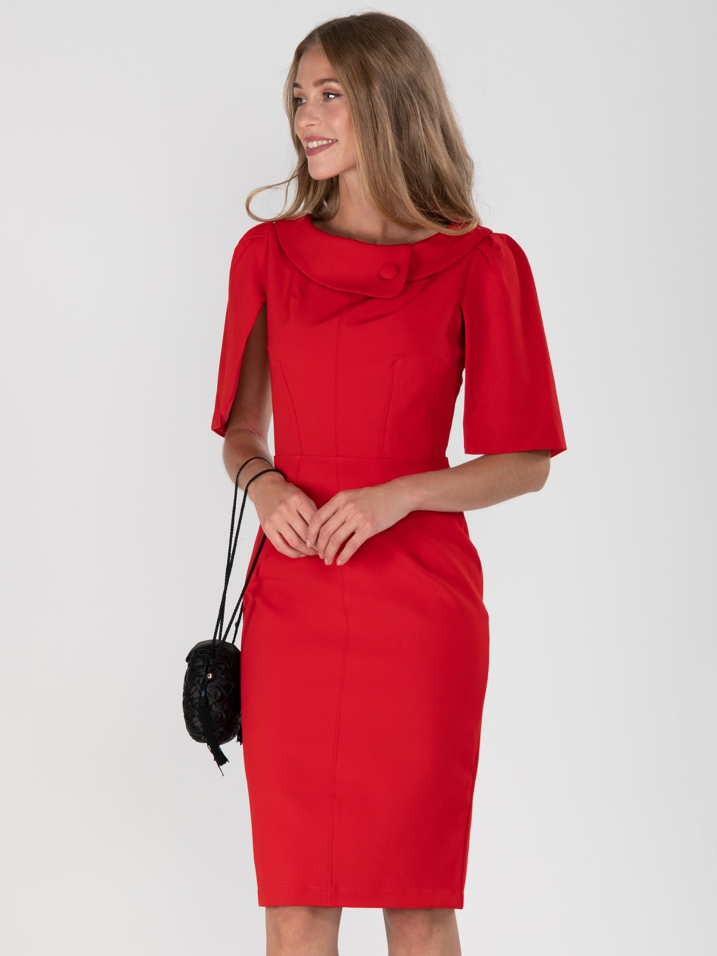 Cape Sleeve Roll Collar Shift Dress