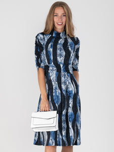Printed Turtleneck Jersey Dress, Black Snake