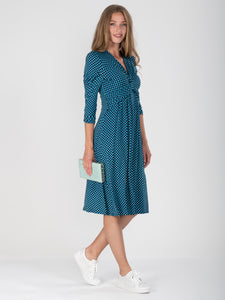 3/4 Sleeve Print Viscose Dress, Blue Pattern
