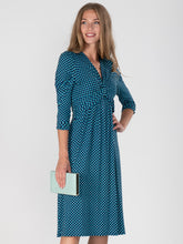 Load image into Gallery viewer, 3/4 Sleeve Print Viscose Dress, Blue Pattern