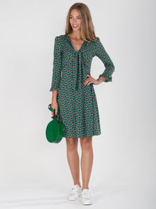 Jolie Moi Tie Front Dress, Green Geo