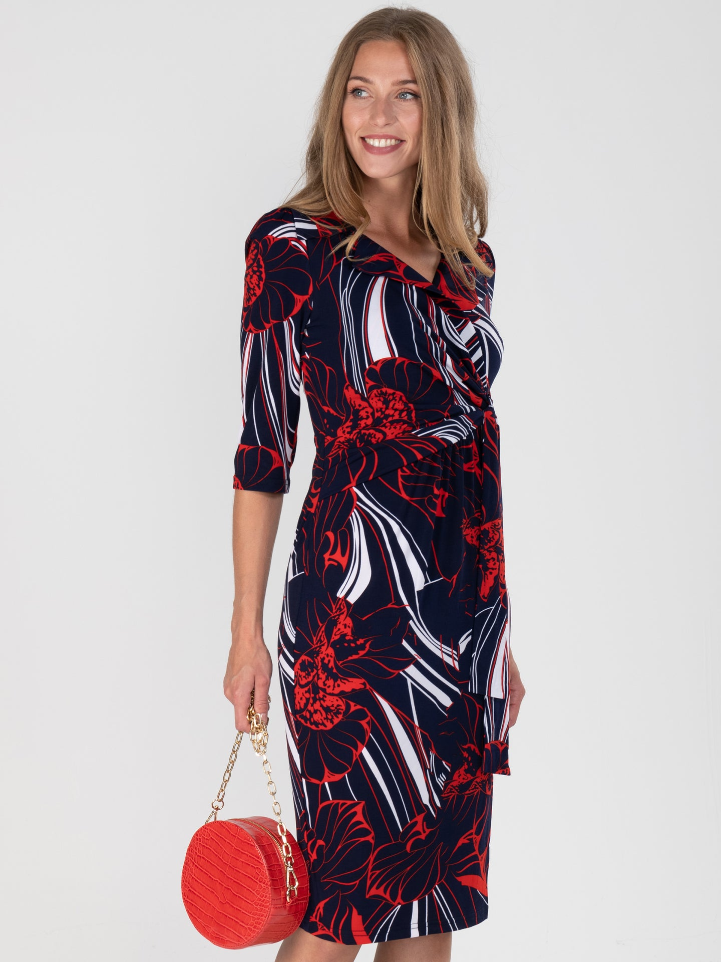 Revere Collar Sleeved Pencil Dress, Floral Multi