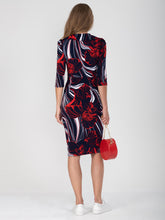 Load image into Gallery viewer, Revere Collar Sleeved Pencil Dress, Floral Multi - Jolie Moi Retail