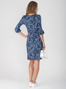 Print Balloon Sleeve Jersey Dress