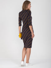 Load image into Gallery viewer, Revere Collar Geo Print Pencil Dress, Black Geo