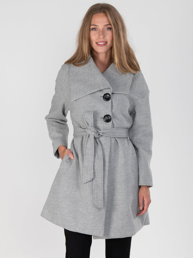 Wrap Front Coat, Black/ White