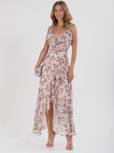 Load image into Gallery viewer, Frill Chiffon Maxi Dress, Pink Floral