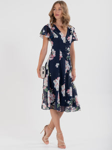 Floral Chiffon Flare Midi Dress, navy Floral