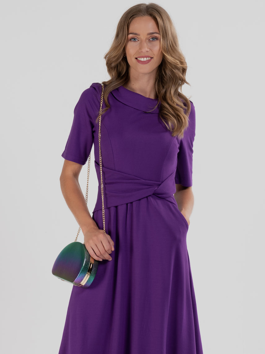 Fold Over Collar Flare Dress, Dark Purple