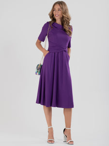 Jolie Moi Fold Over Fit and Flare Midi Dress, Dark Purple