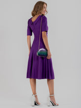 Load image into Gallery viewer, Jolie Moi Fold Over Fit and Flare Midi Dress, Dark Purple
