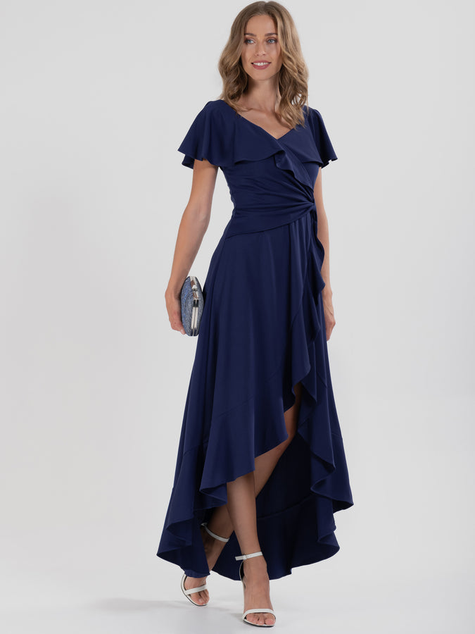 Ruffle Dip Hem Maxi Dress, Navy