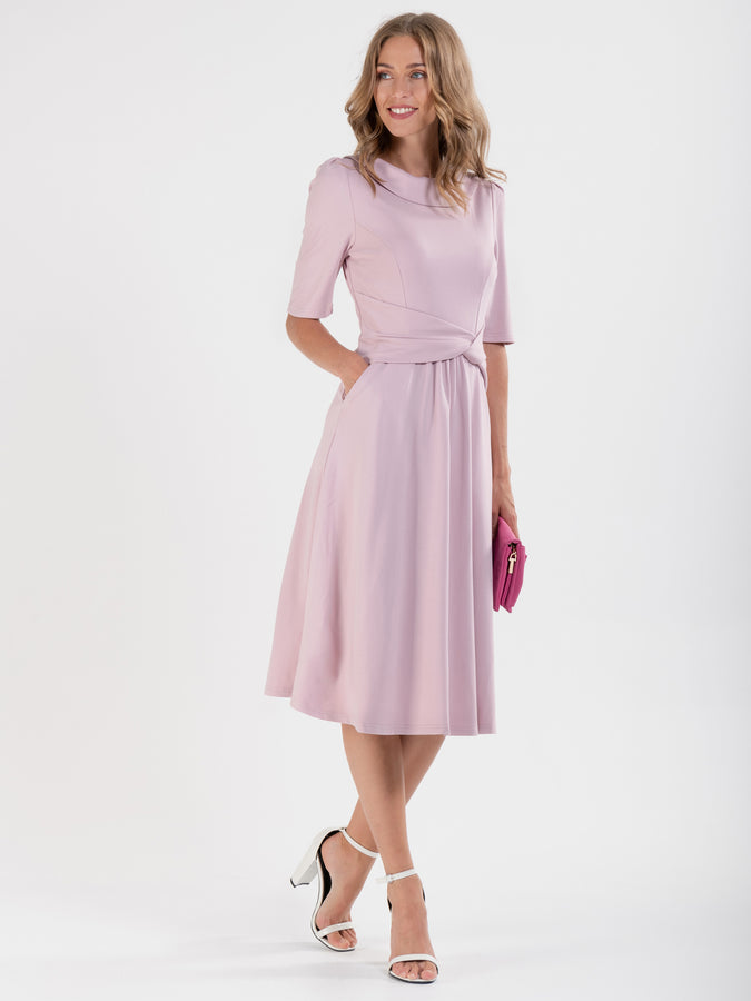 Jolie Moi Fold Over Fit and Flare Midi Dress, Heather