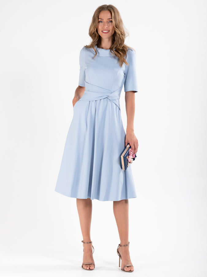 Fold Over Collar Flare Dress, DUSKY BLUE