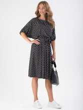 Load image into Gallery viewer, Batwing Spotty Jersey Dress, Black Spot