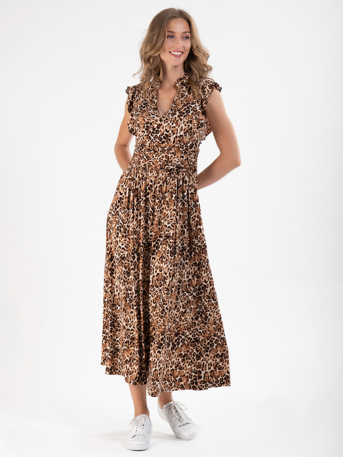 Frill Shoulder Maxi Dress, Brown Animal