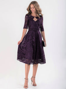 Fit & Flare Sleeved Lace Midi Dress