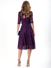 Load image into Gallery viewer, Fit & Flare Sleeved Lace Midi Dress