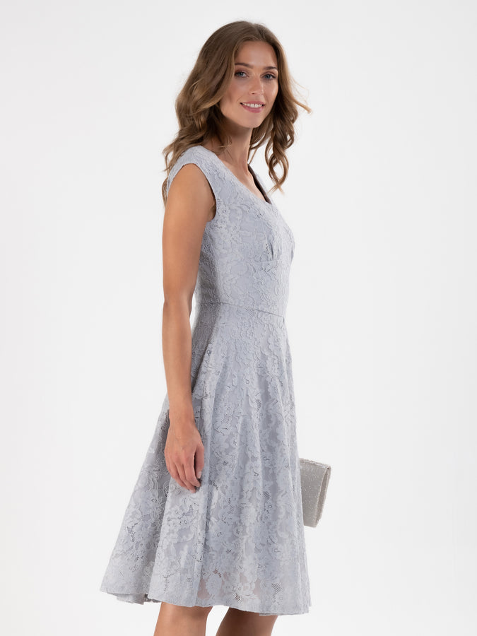 Sweatheart neck 50's Lace Dress, Grey