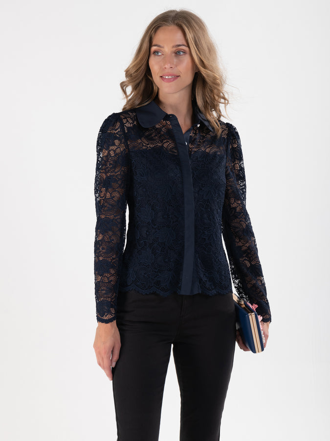 Flare Sleeved Button Front Lace Blouse