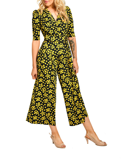 Jolie Moi D Ring Tie Jumpsuit, Yellow Polka