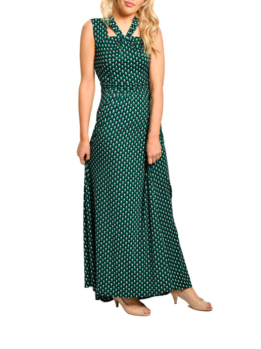 Jolie Moi Cut Out Neckline Maxi Dress, Green Geo