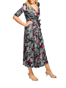 Jolie Moi V Neck Maxi Dress, Black Floral