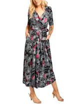 Load image into Gallery viewer, Jolie Moi V Neck Maxi Dress, Black Floral