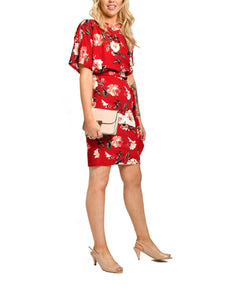 Jolie Moi Tie Belt Pencil Dress, Red Floral