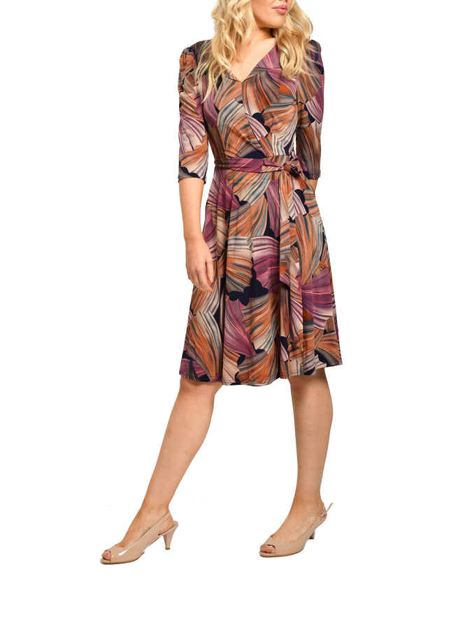 Jolie Moi 3/4 Sleeve V-Neck Midi Dress, Multi