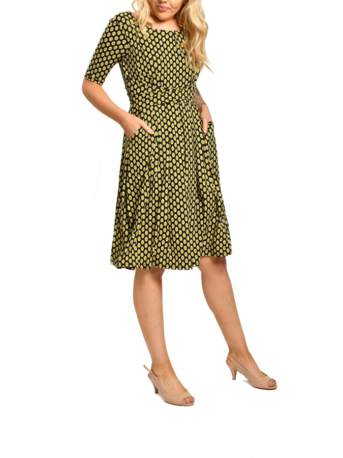 Jolie Moi 1/2 Sleeve Boat Neck Midi Dress, Yellow Print