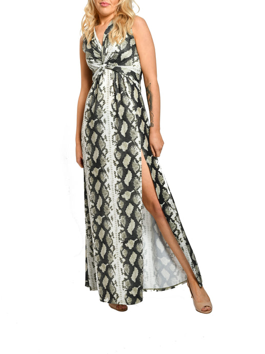 Jolie Moi Knot Front Slit Maxi Dress, Green Snake