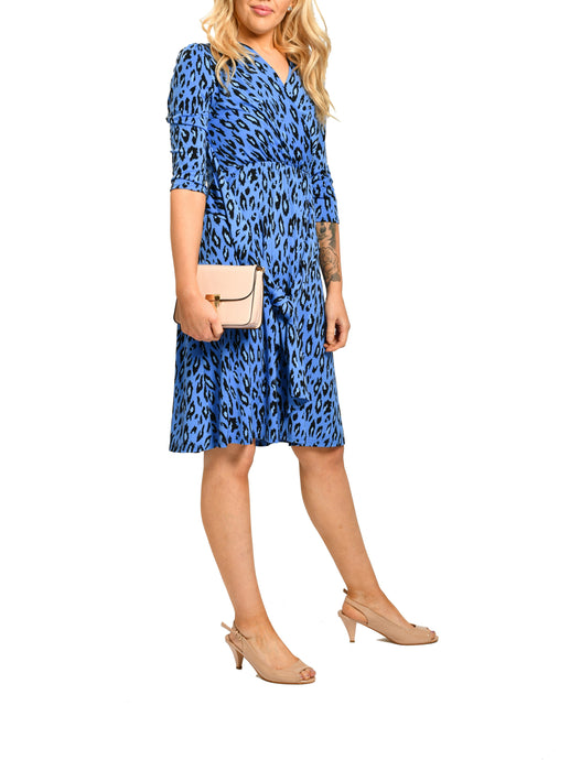 Jolie Moi 1/2 Sleeve Tie Waist Midi Dress, Blue Leopard