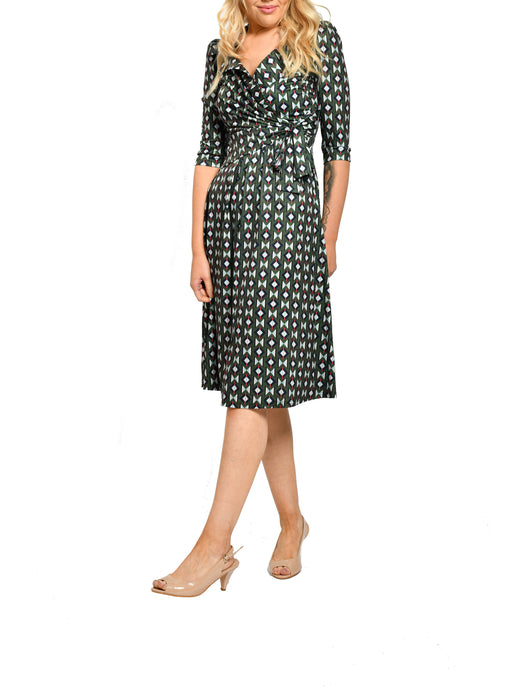 Jolie Moi Tie Waist Midi Dress, Khaki Pattern