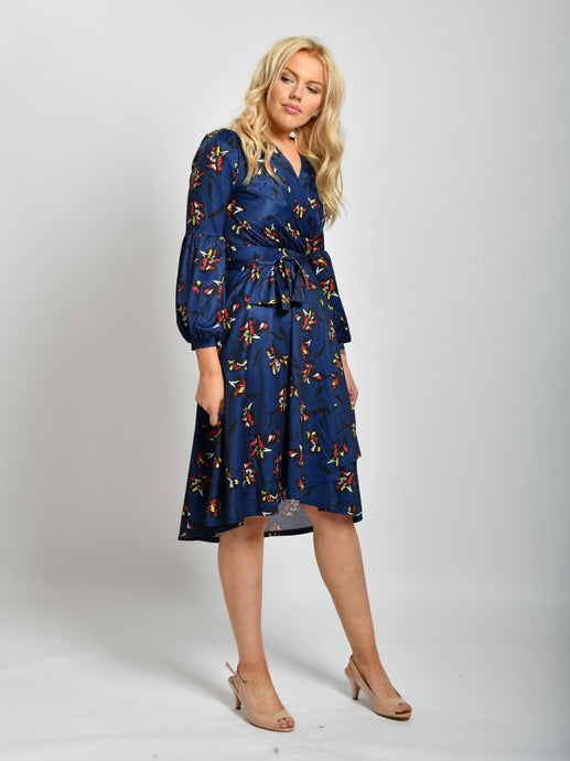 Long Sleeve Print Midi Dress, Navy Floral