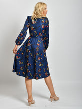 Load image into Gallery viewer, Long Sleeve Print Midi Dress, Navy Floral