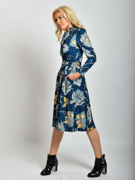 High Tie Neck Print Midi Dress, Teal Floral