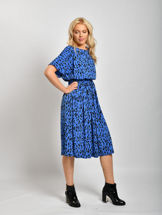 Half Sleeve Print Midi Dress, Blue Leopard