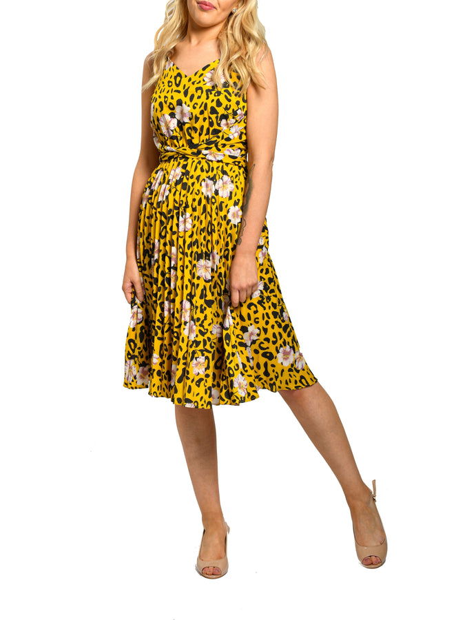 Jolie Moi Sleeveless Pleated Midi Dress, Yellow Floral