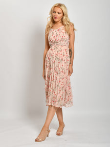 Pleated Tie Midi Dress, Pink Floral