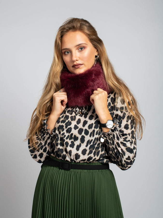 Faux Fur Snood/Headband , Wine